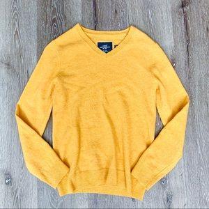 🔴 Men's mustard v-neck sweater
